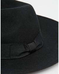 f6aa57eab9d913 Asos Brand Fedora Hat In Black Felt With Wide Brim, $38 | Asos ...