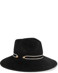 Eugenia Kim Emmanuelle Faux Leather Trimmed Rabbit Felt Fedora Black