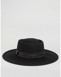 Asos Extra Wide Brim Fedora Hat With Band