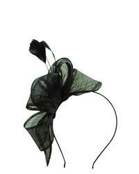 Scala Fascinator Headband With Bow And Feather Spray Black One Size