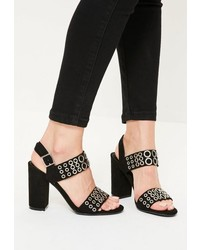 Missguided Black Eyelet Block Heeled Sandals