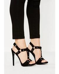Missguided Black Harness Trim Gladiator Heeled Sandals