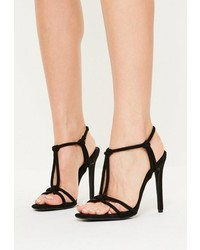 Missguided Black Knotted T Bar Heeled Sandals