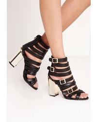 Missguided Gold Block Heel Strappy Sandals Black