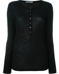 Alexander Wang T By Ribbed Henley T Shirt