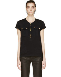 Balmain Black Gold Buttoned Henley Shirt