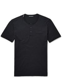 Dolce & Gabbana Cotton Jersey Henley T Shirt