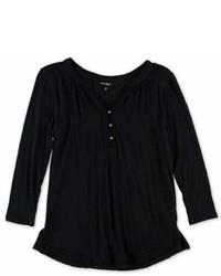 Lucky Brand Crochet Trim Henley Shirt Black S