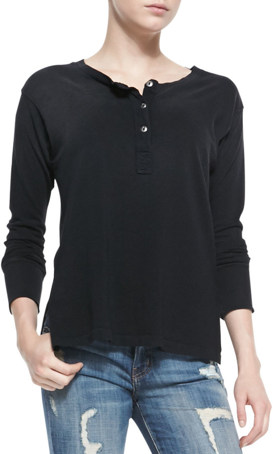 Current elliott off campus jersey henley where to buy for Kim kardashian henley shirt