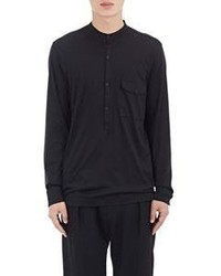 Lemaire Henley Inspired Long Sleeve Shirt Black