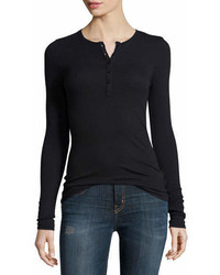 ATM Anthony Thomas Melillo Long Sleeve Ribbed Henley Tee