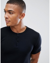 ASOS DESIGN Muscle Fit T Shirt With Grandad Neck In Black