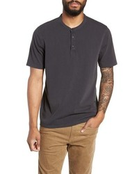 Vince Regular Fit Gart Dye Short Sleeve Henley