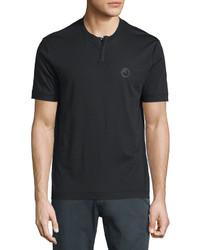 Armani Collezioni Short Sleeve Henley T Shirt Black