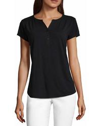 Liz Claiborne Short Sleeve Smocked Shoulder Henley T Shirt