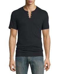 John Varvatos Star Usa Short Sleeve Henley T Shirt Black