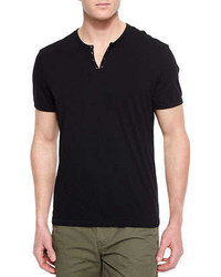 Star usa short sleeve knit henley t shirt black medium 249951