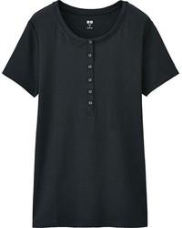 Uniqlo Supima Cotton Short Sleeve Henley Neck T Shirt