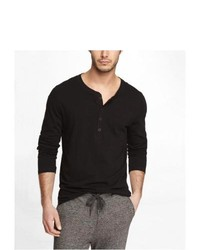 Express Rolled Sleeve Henley Tee Black Large