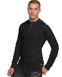 Sean John Faux Leather Pieced Henley Shirt