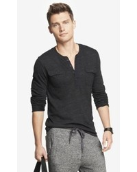 Express Long Sleeve Two Pocket Tri Blend Henley Tee