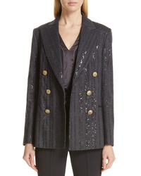 Brunello Cucinelli Chevron Sequin Double Breasted Jacket