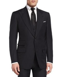 Tom Ford Windsor Base Herringbone Three Piece Suit Black