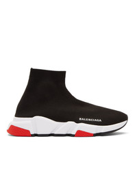 Balenciaga Black And Red Speed Sneakers