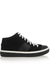 Jimmy Choo Bells Embossed Suede And Leather Sneakers Black
