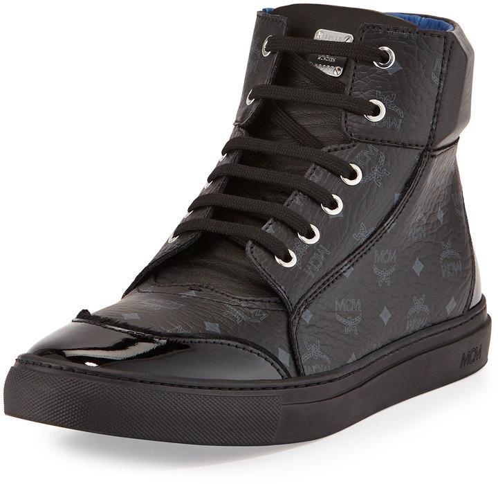 MCM Leather High Top Sneaker Black