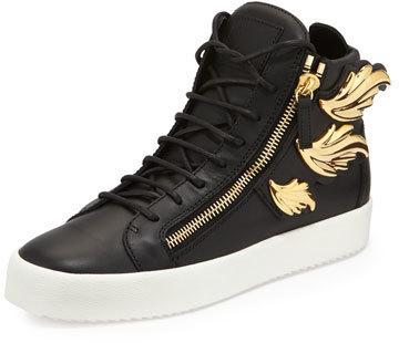... Giuseppe Zanotti Leather High Top Sneaker With Golden Wings Black ... f6b28c7b406e