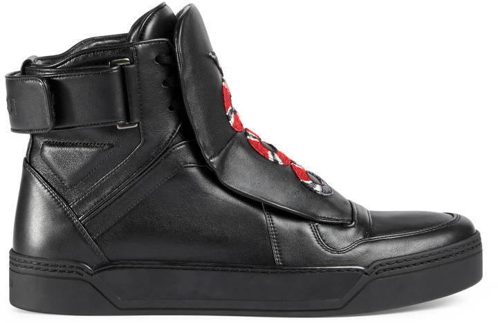 Sneakers Gucci Leather High Top Sneaker With Snake