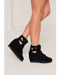 Missguided Black Cut Out Wedge High Top Sneakers