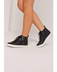 Missguided Black High Top Sneakers