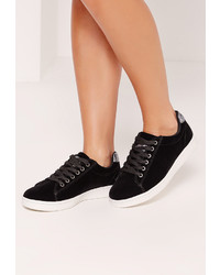 Missguided Black Velvet Glitter Tab High Top Sneakers
