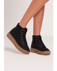 Missguided High Top Flatform Black