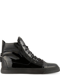 Giuseppe Zanotti Patent Double Zip High Top Trainers