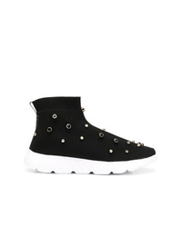 RED Valentino Red Crystal Stud Sock Sneakers