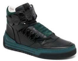 4e69c11142 $1,500, Fendi Runway Tank Crocodile Strap Leather High Top Sneakers