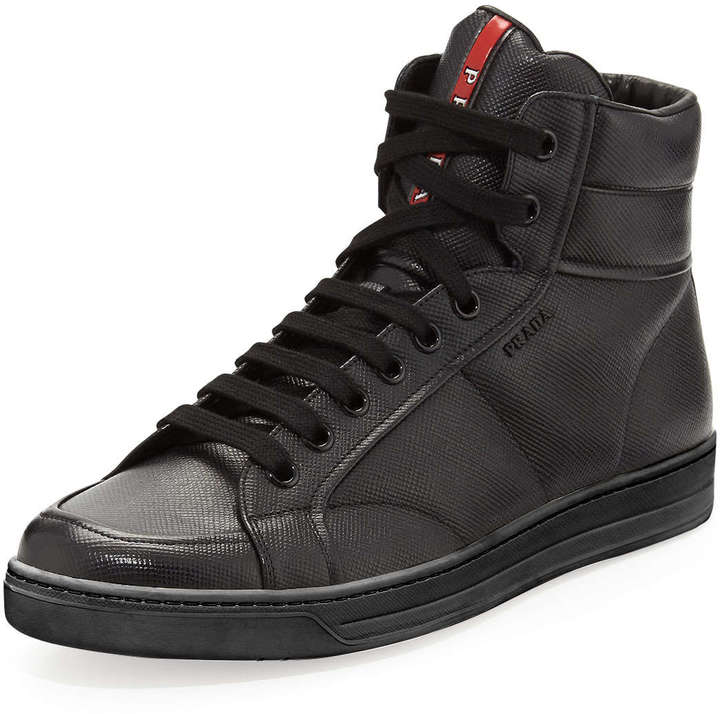 Prada Saffiano High Top Sneaker Black