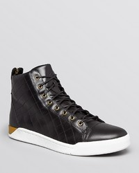 Diesel Tempus Diamond Quilted Leather High Top Sneakers