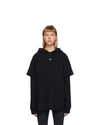 Off-White Black Double T Shirt Stencil Hoodie