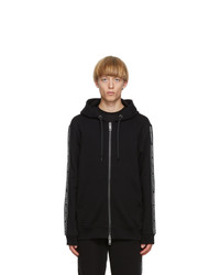 Burberry Black Logo Tape Zip Up Hoodie