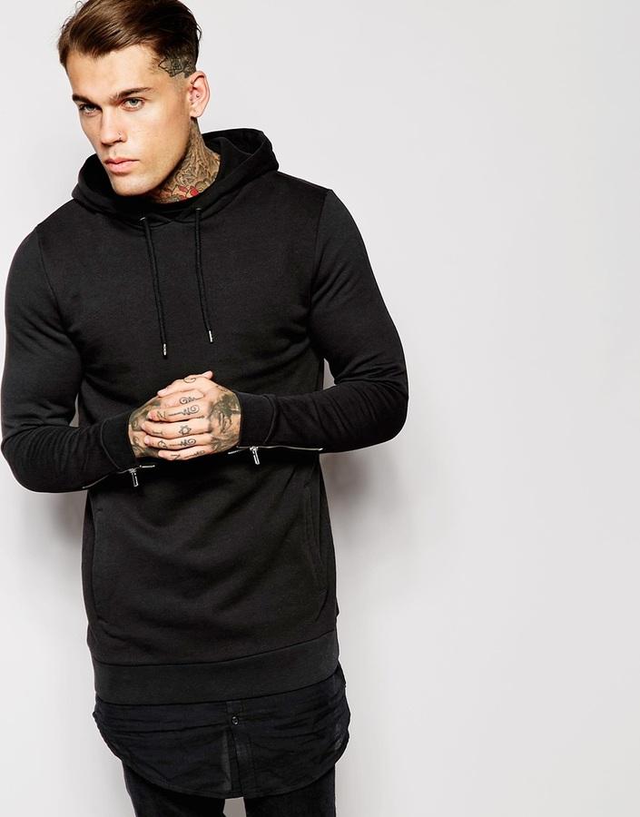 ... Asos Brand Longline Hoodie With Zip Cuffs Shirt Hem ...