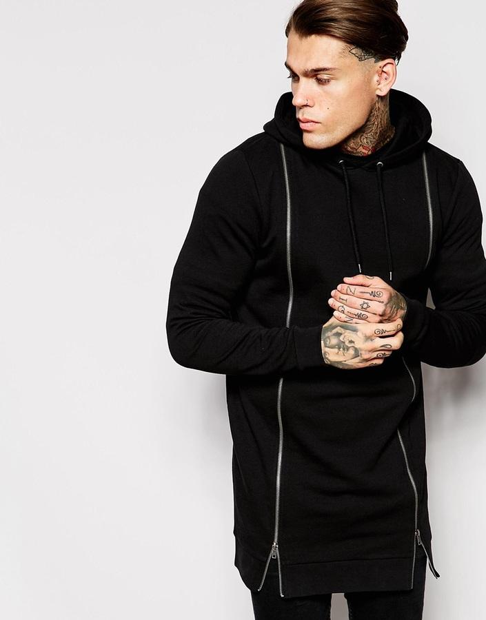 ... Black Hoodies Asos Brand Super Longline Hoodie With Double Zip Front