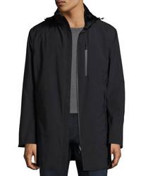 Armani Collezioni Hooded Zip Front 34 Length Coat Black