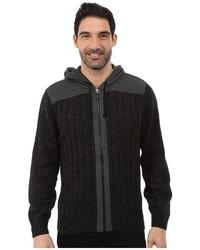 DKNY Jeans Long Sleeve Rib Full Zip Hooded Sweater