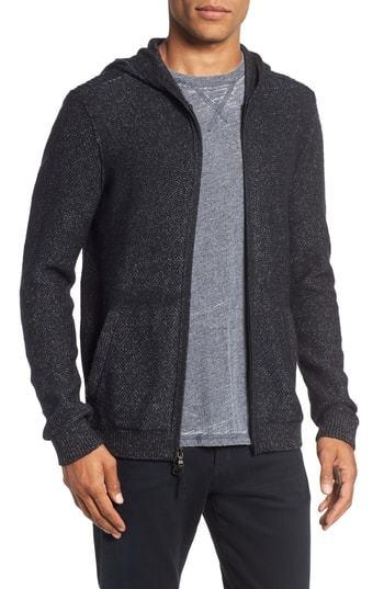 John Varvatos Star USA John Varvatos Mixed Stitch Zip Hoodie