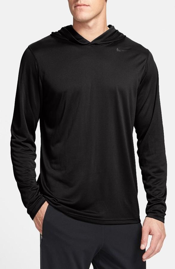 Black Hoodie Nike Vapor Touch Dri Fit Long Sleeve Hoodie