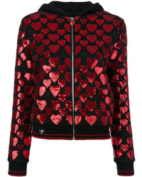 Sequin heart zipped hoodie medium 5264317